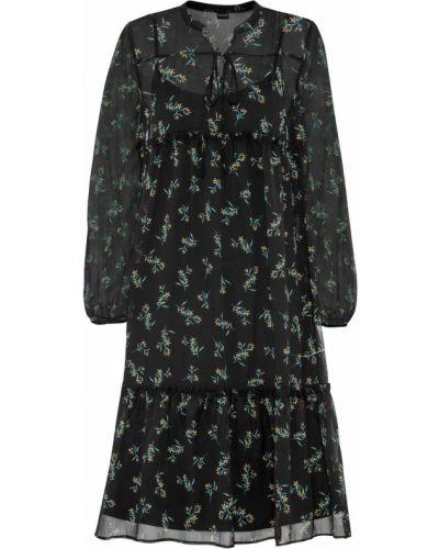 Шифоновое черное с рукавами платье с оборками Bonprix