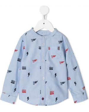 Niebieska koszula bawełniana z długimi rękawami Velveteen