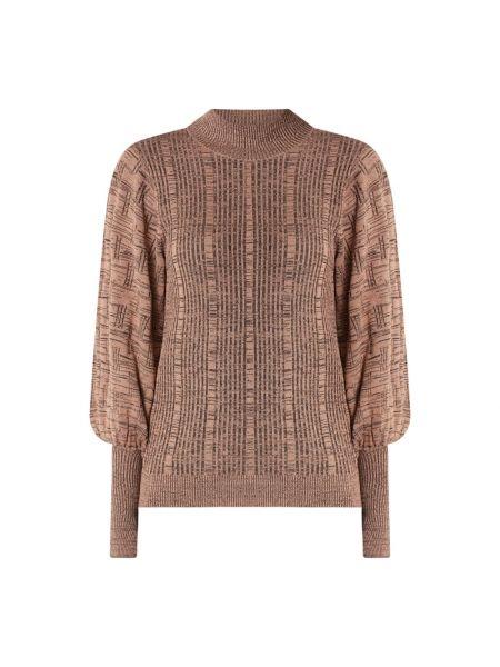 Beżowy sweter w paski z wiskozy Levete Room