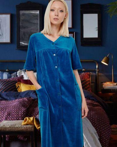 С рукавами велюровый домашний халат Mix-mode