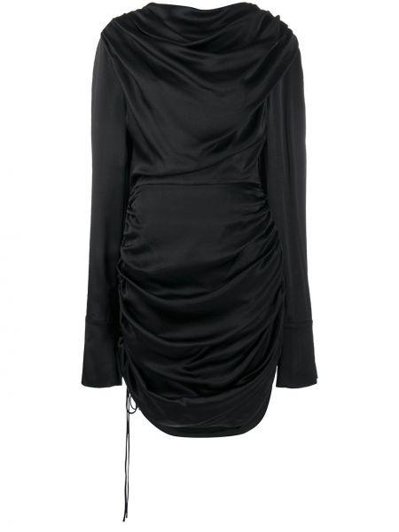 Черное асимметричное платье с оборками на пуговицах Matériel