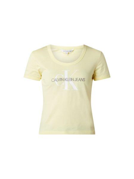 Bawełna żółty koszula jeansowa z dekoltem krótkie rękawy Calvin Klein Jeans