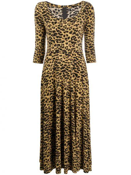 Платье миди леопардовое приталенное Norma Kamali