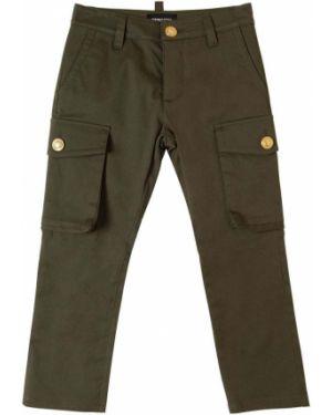 Zielone spodnie bawełniane z paskiem Dsquared2