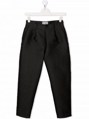 Czarne spodnie z wysokim stanem z paskiem Simonetta
