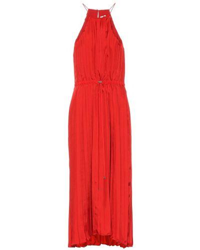 Migocący satyna pofałdowany sukienka midi Tibi