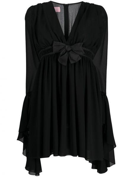 Czarna sukienka mini z długimi rękawami z dekoltem w serek Giamba