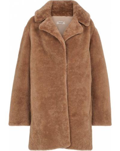 Коричневое плюшевое пальто Yves Salomon