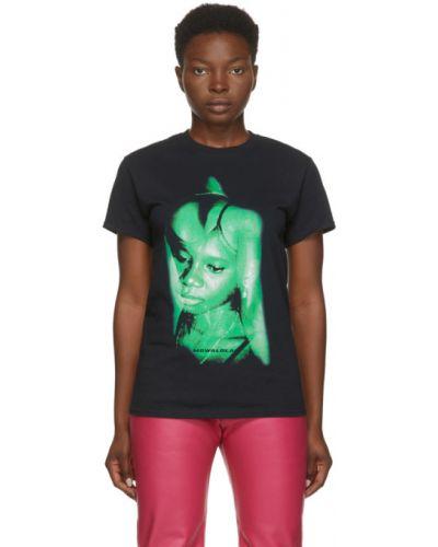 Czarny t-shirt bawełniany krótki rękaw Mowalola