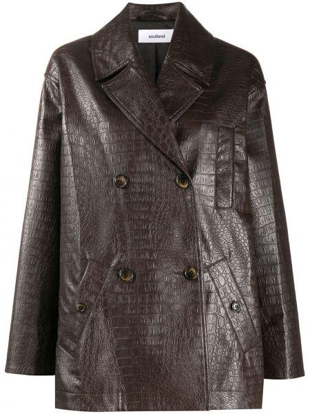 Коричневая прямая куртка на пуговицах из крокодила Soulland
