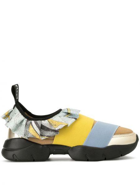 Skórzane sneakersy na gumce miejski Emilio Pucci