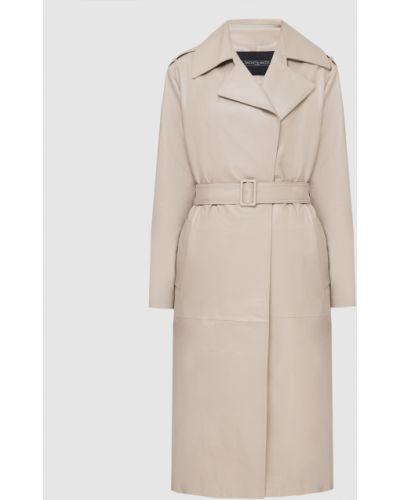Бежевое кожаное пальто Simonetta Ravizza