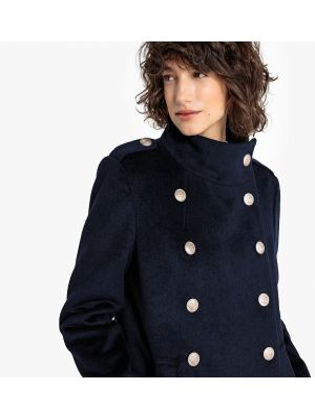 Коралловое шерстяное длинное пальто с воротником милитари La Redoute Collections