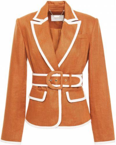 Льняной пиджак с поясом на пуговицах Zimmermann