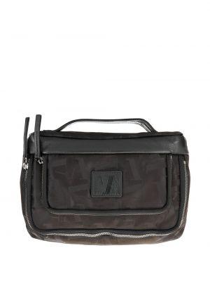 Черный несессер на молнии с карманами Emporio Armani