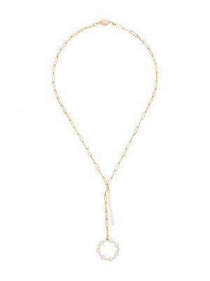 Miękki włókienniczy wisiorka ze złota złoto z perłami Timeless Pearly
