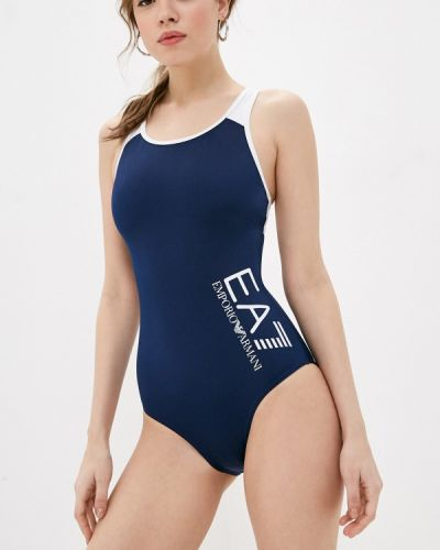 Синий слитный купальник Ea7