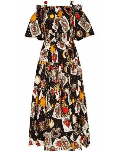 Платье макси с открытыми плечами на бретелях с оборками Dolce&gabbana
