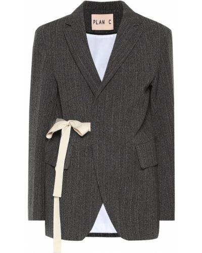 Ватный шерстяной серый пиджак Plan C