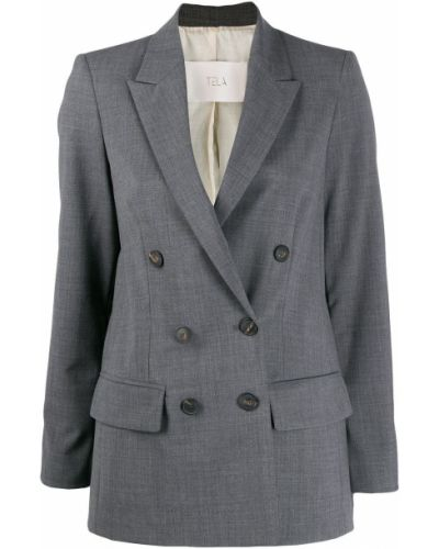 Длинная куртка с карманами серая Tela