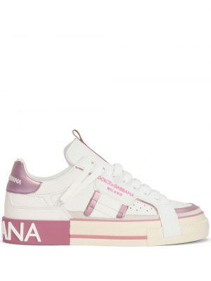 Кожаные белые кроссовки на шнуровке Dolce & Gabbana