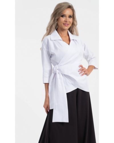 Блузка с принтом - белая Wisell
