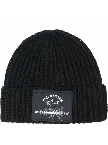 Шерстяная шапка бини - черная Paul & Shark