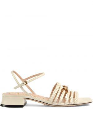 Beżowe sandały skorzane klamry Gucci