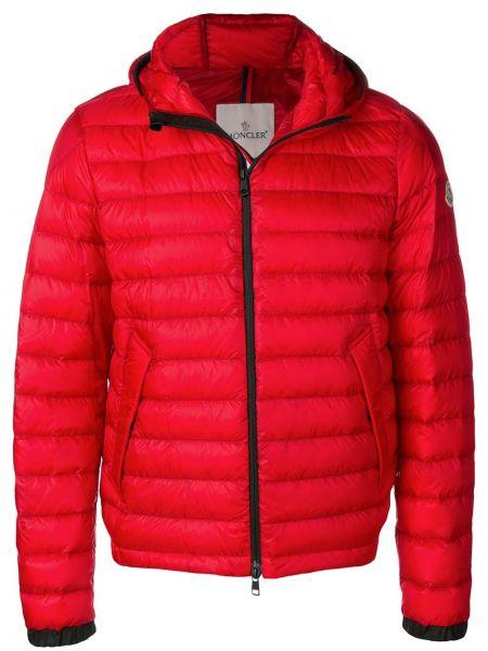 Puchaty kurtka z kapturem z mankietami khaki z kieszeniami Moncler