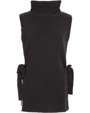Czarny sweter wełniany bez rękawów Fuzzi