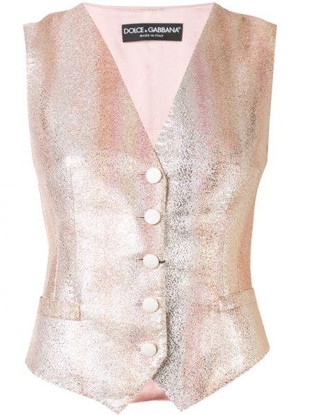Różowa kamizelka bez rękawów do pracy Dolce And Gabbana