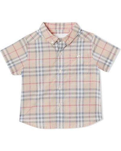 Рубашка в клетку бежевый Burberry Kids