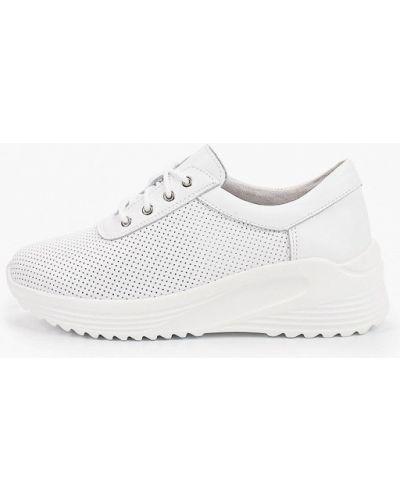Кожаные белые кроссовки Makfine