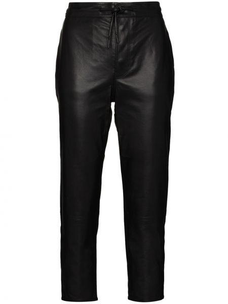 Czarne spodnie z wysokim stanem skorzane Rta