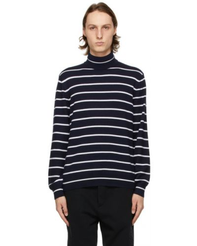Белый кашемировый длинный свитер в полоску Ralph Lauren Purple Label