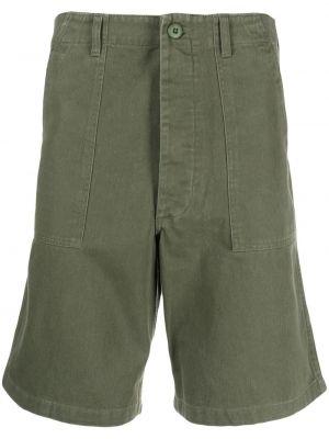 Зеленые льняные шорты с карманами Maharishi