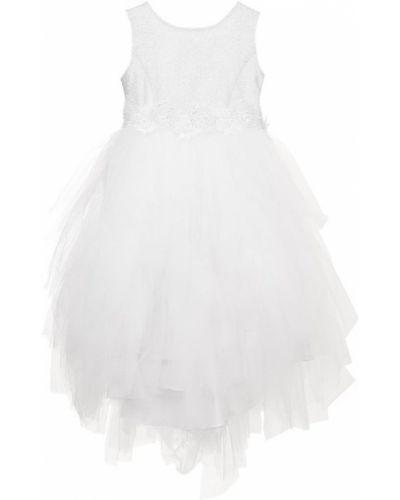 Платье с поясом однотонное с бантом Aletta