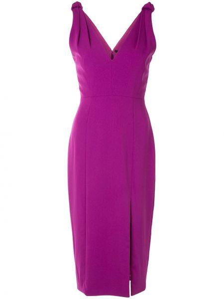 Приталенное фиолетовое платье миди с разрезом Jay Godfrey