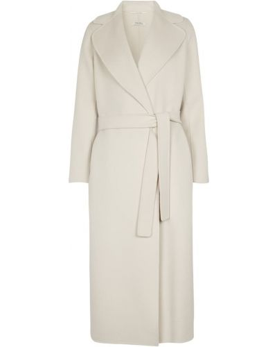 Biały płaszcz wełniany S Max Mara