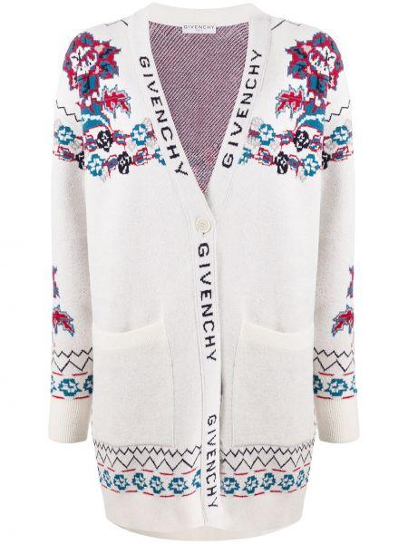 Biały kardigan wełniany z długimi rękawami Givenchy