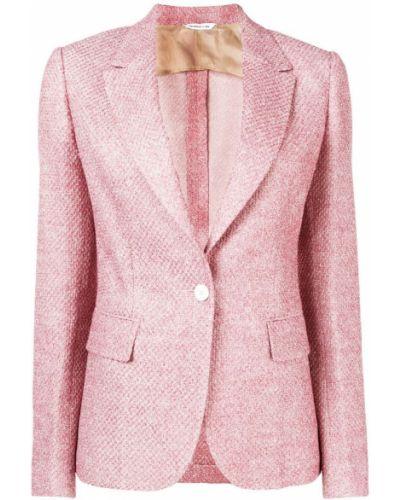Розовый приталенный удлиненный пиджак на пуговицах Tonello
