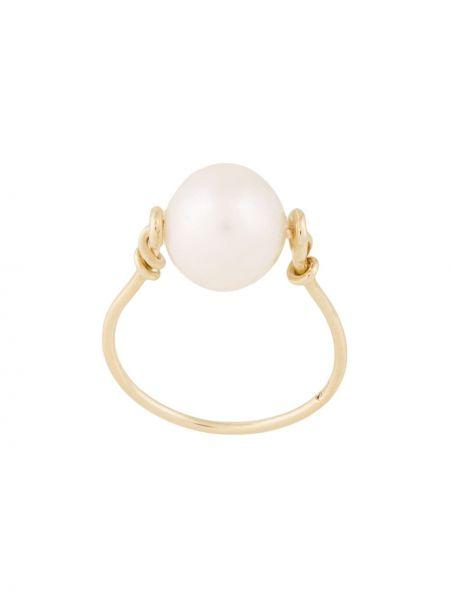 Pierścień metal złoto z perłami Natasha Schweitzer