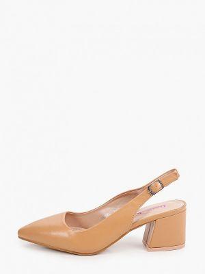 Коричневые кожаные туфли с открытой пяткой Vera Blum