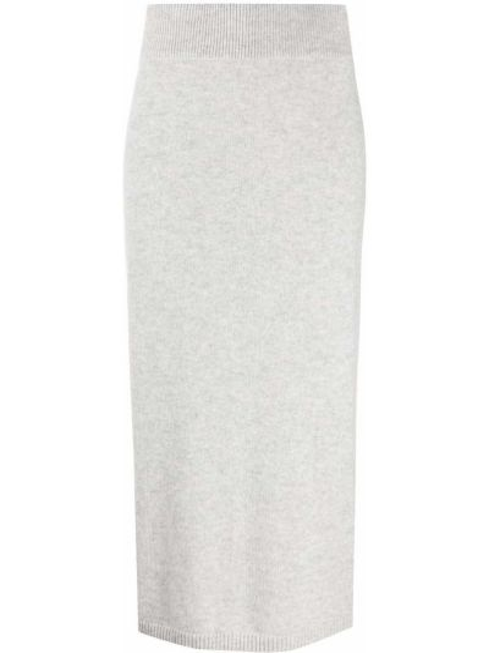 Серая с завышенной талией юбка с разрезом в рубчик N.peal