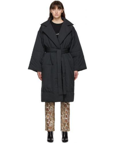 Утепленное черное длинное пальто с воротником Proenza Schouler