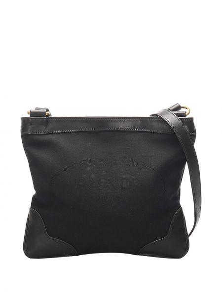 Кожаная черная сумка через плечо на молнии с карманами Prada Pre-owned