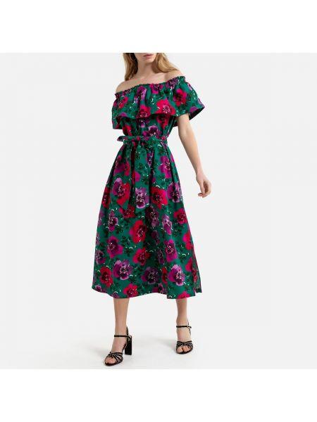 Платье с поясом с цветочным принтом трапеция La Redoute