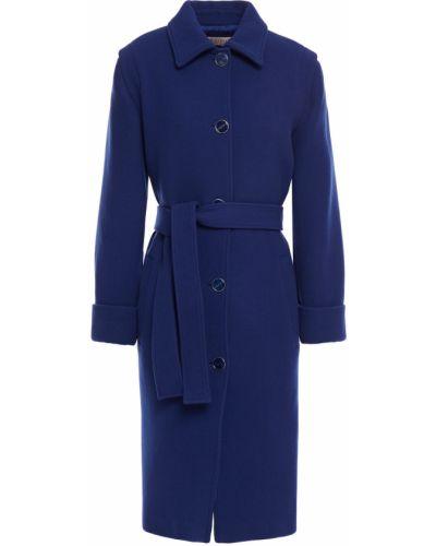 Синее шерстяное пальто с карманами Emilio Pucci