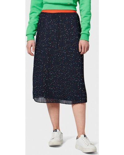 Плиссированная юбка весенняя синяя Tom Tailor Denim