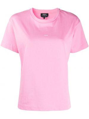 Хлопковая розовая рубашка с коротким рукавом с короткими рукавами с круглым вырезом A.p.c.
